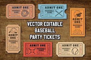 Vector Editable Baseball Tickets