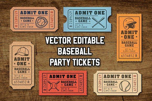 vector editable baseball tickets illustrations creative market