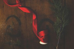 Red ribbon and fir branch