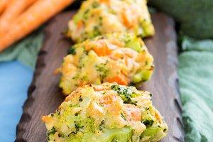 Vegetable patties on serving board