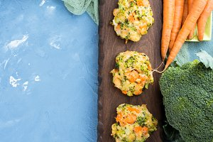 Vegetable patties with carrots and broccoli. Top view