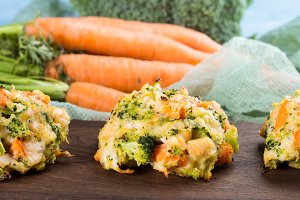 Vegetable fritters on serving board