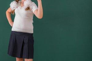 School Girl at a Chalkboard