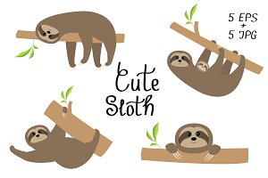 Sloth set. Cartoon character.