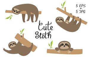 Sloth set. Cartoon character.
