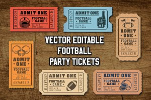 Vector Editable Football Tickets