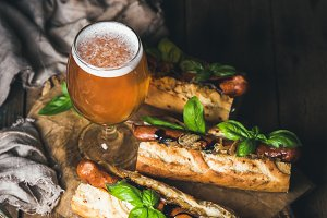 Beer and grilled sausage dogs