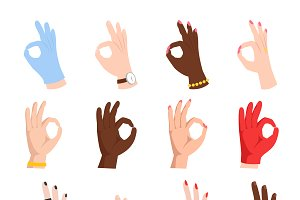 Ok hands success gesture vector