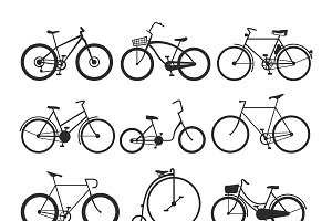 Vintage retro bicycle set vector