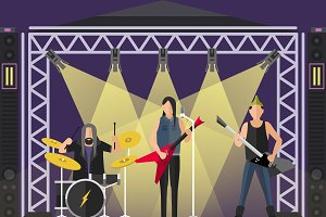 Concert pop group vector