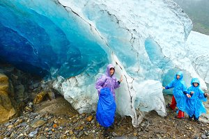 Family near Norway glacier