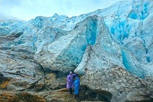 Family near Norway glacier