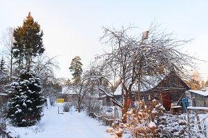 snowy rural house