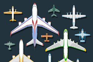 Vector passenger airplane top view