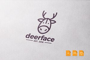 Deer Face Logo Template