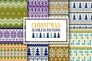 9 Christmas seamless patterns.