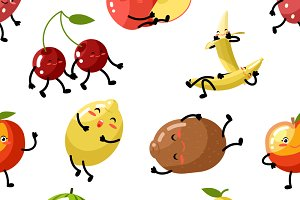 Cute fruit seamless pattern
