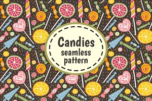 Candies and Sweets. Seamless pattern