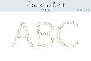 Floral alphabet clip art