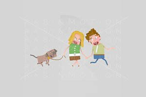 3d illustration. Couple walking dog.