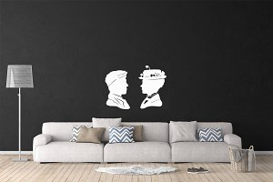 Wall Mockup - Sticker Mockup Vol 28