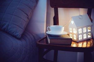 Cozy evening bedroom