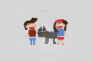 3d illustration.Children playing dog