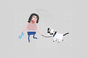 3d illustration. Woman walking dog.