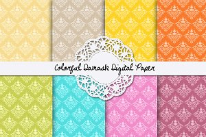 Colorful Damask Digital Paper