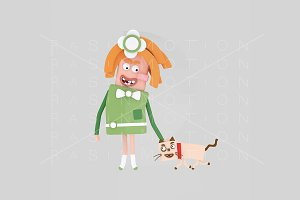 3d illustration. Girl playing cat.