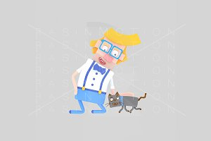 3d illustration. Man petting his cat