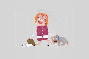 3d illustration. Woman petting cat.