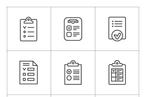 Set line icons of checklist