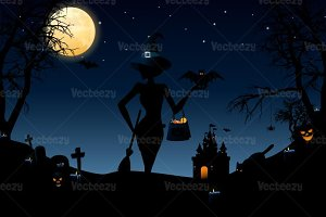 Halloween Night Vector Wallpaper