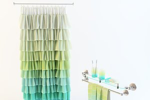 Bathroom decor set with curtain