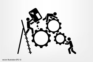 gears people icon vector