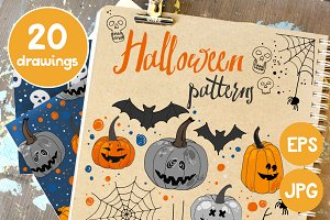Halloween. Patterns with pumpkins