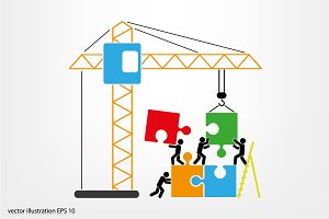 people, puzzle and crane