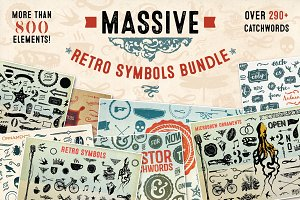 Massive Retro Symbols Bundle-90% Off