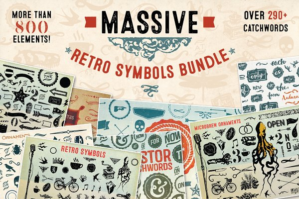 Massive Retro Symbols Bundle-90% Of…