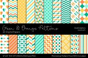 Green And Orange Digital Papers