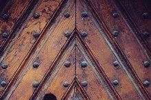 Texture of an ancient wooden door