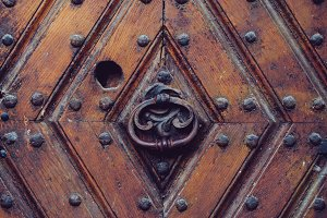 Texture of an ancient wooden door