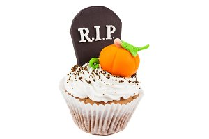 Halloween cupcake with colored decorations RIP