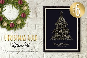Christmas Gold Line Art Set