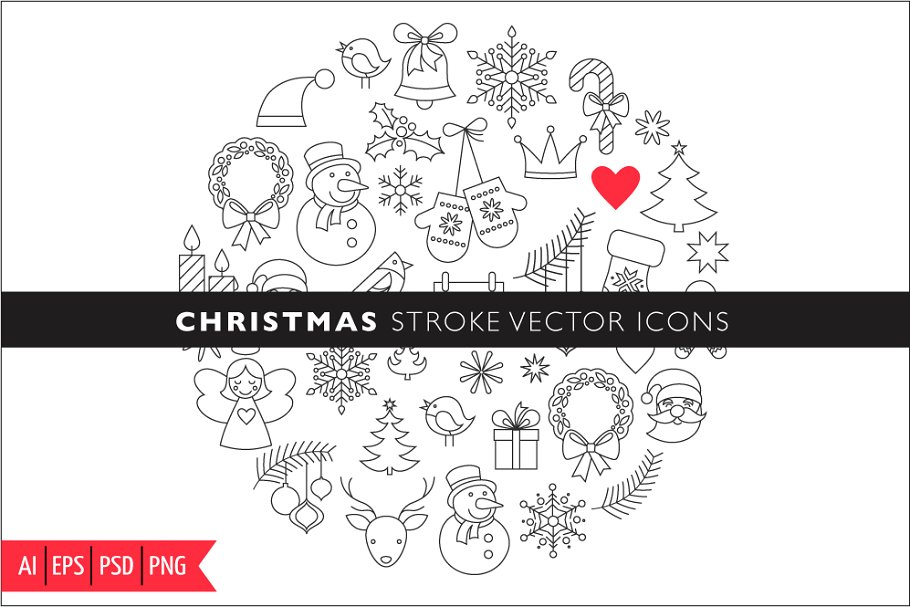 Christmas Stroke Icons set