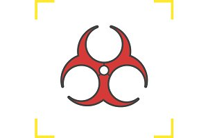 Biohazard red icon. Vector