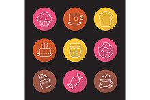Confectionery. 9 icons. Vector