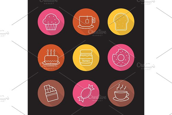 Confectionery. 9 icons. Vector - Icons