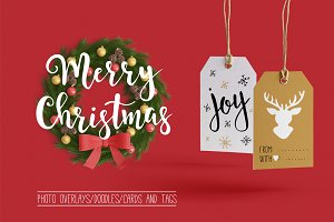 Christmas overlays, cards, doodle